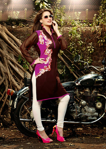 Brown Color Georgette Resham Work Kurti