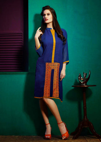 Blue Color Georgette Resham Work Kurti