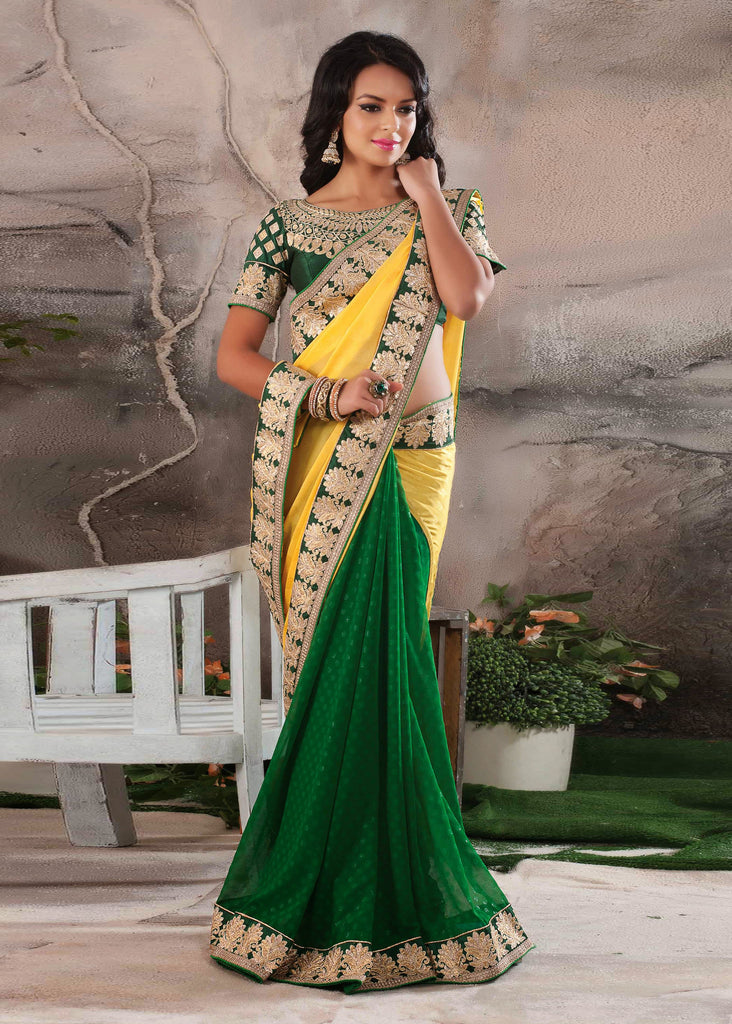 Green Color Jacquard and Crepe Embroidered Saree