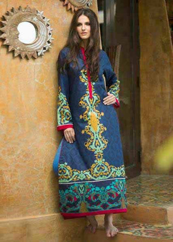 Blue Color Pure Cotton Resham Work Kurtis