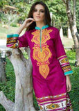 Magenta Color Pure Cotton Resham Work Kurtis
