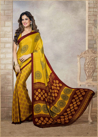 Yellow Color Silk Printed Saree