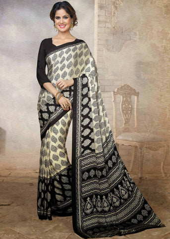 White Color Silk Printed Saree