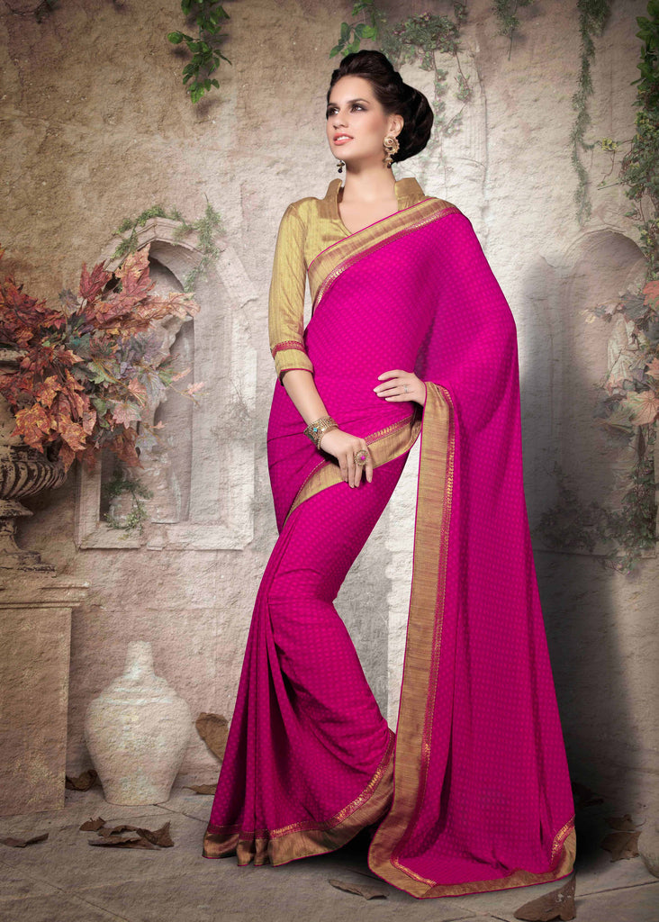 Magenta Color Georgette Printed Saree