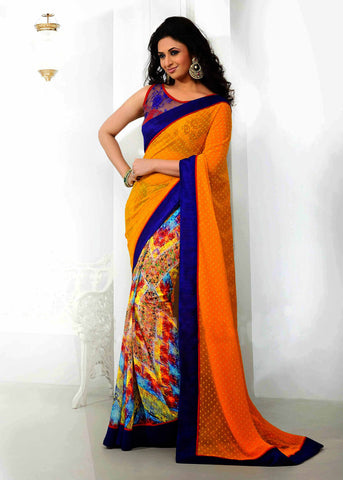 Yellow Color Georgette Printed Saree