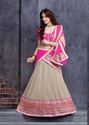 Cream Color Georgette Lehenga Choli
