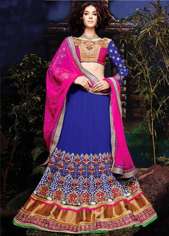 Blue Color Georgette Lehenga Saree