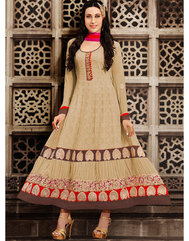 Beige Color Georgette Anarkali  Salwar Kameez