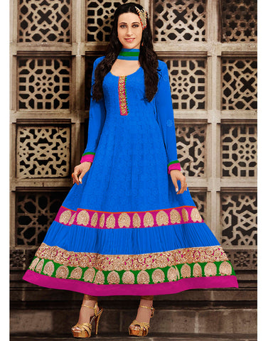 Blue Color Georgette Anarkali  Salwar Kameez