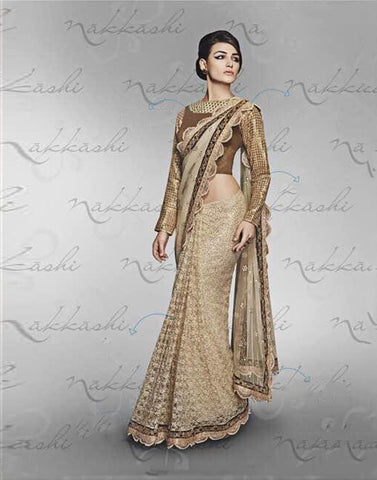 Beige Color  Net Saree