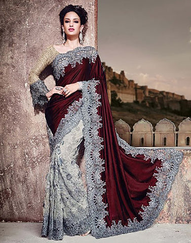 Meroon Velvet  Party Ware Saree