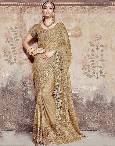 Cream Colour   Party ware Saree