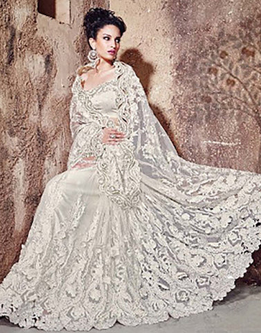 White Colour  Net  Party Ware Saree