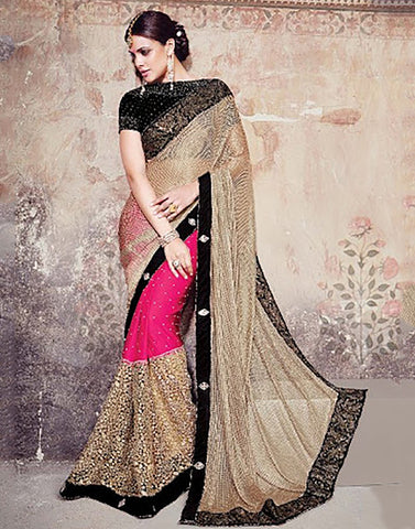 Multicolor Satin  Party Ware Saree