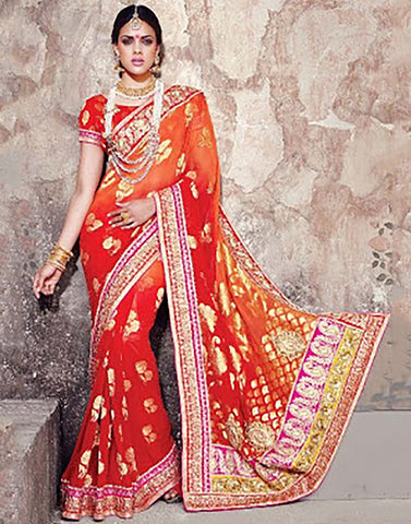 Orange Banaras Party Ware  Saree