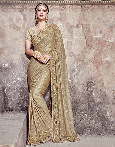 Beige Colour  Party Ware Saree