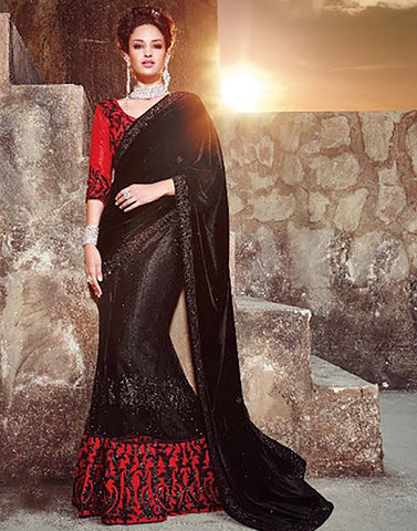Black Colour  Velvet  Party Ware Saree
