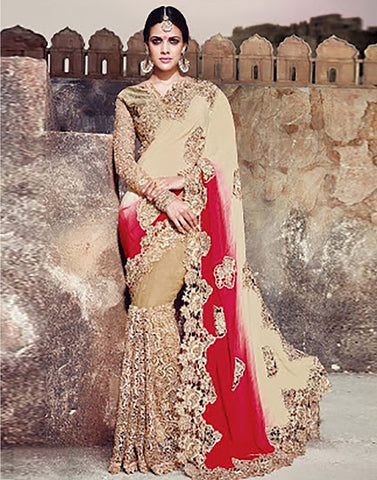 Beige Colour Crepe  Party Ware Saree