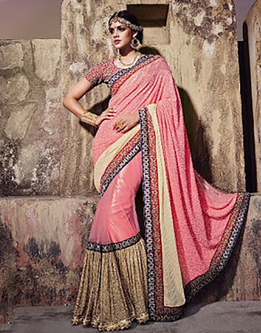 Beige Georgette  Party Ware Saree