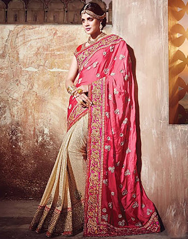 Pink Cplour Satin  Party Ware Saree