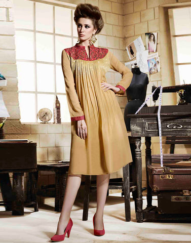 Beige colour Georgette Kurtis