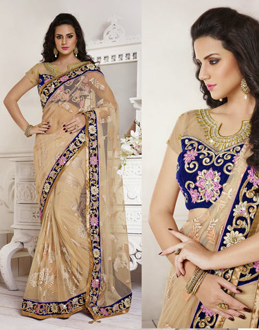 Beige Colour Net Saree