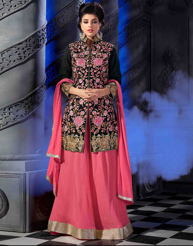 Black Color Bhagalpuri Silk Salwar Kameez