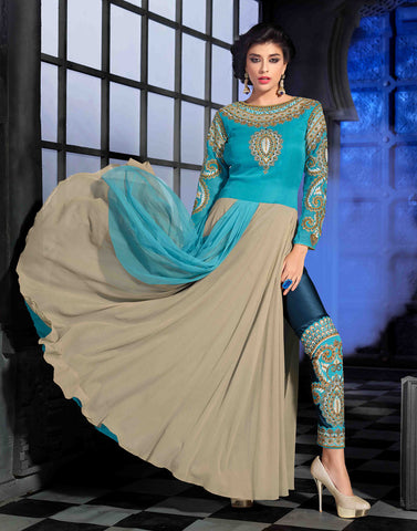 Aqua Color Georgette Salwar Kameez