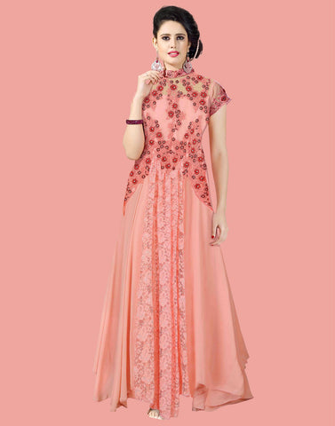 Peach Color Georgette Gown
