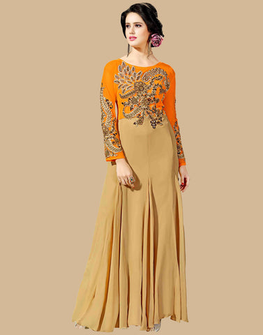 Beige Color Georgette Gown