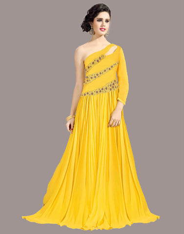 Yellow Color Georgette Gown