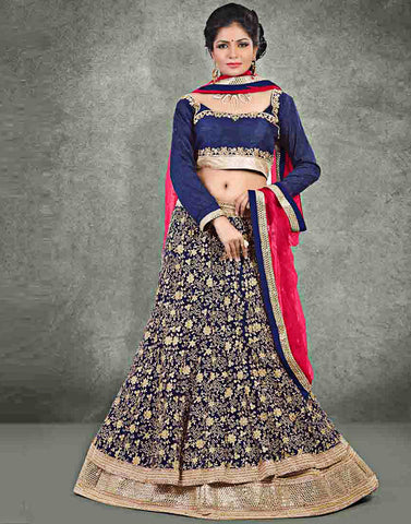 Blue Color Net Lehenga Choli