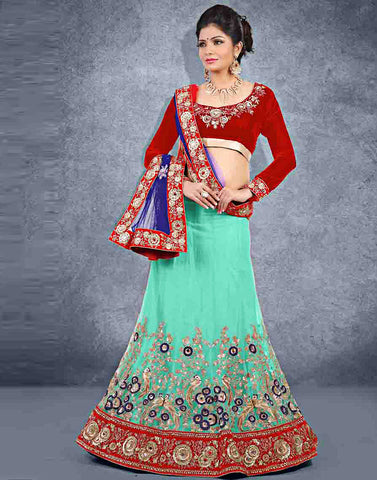 Aqua Color Net Lehenga Choli