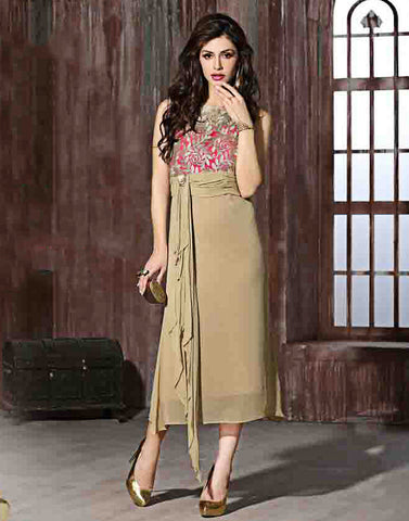 Beige Color Georgette Kurtis