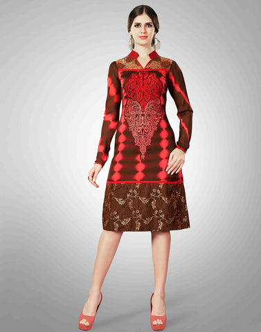 Brown Color Georgette Kurtis