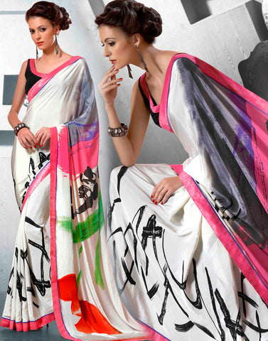 White Color Silk Saree