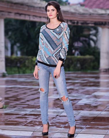 Multi Color Printed Western Top
