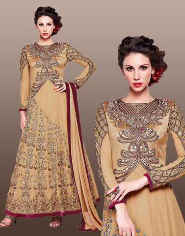 Beige Color Georgette Anarkali Suit