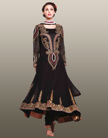 Black Brown Georgette Anarkali Suit
