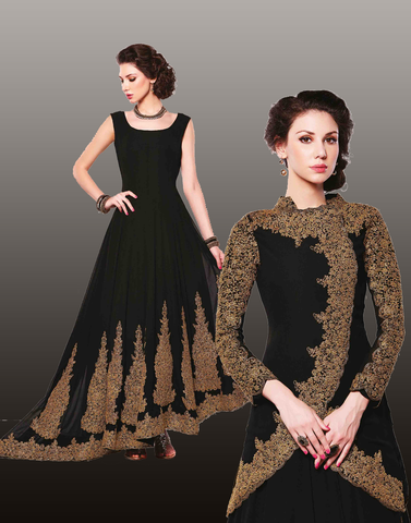 Black Pink Georgette Anarkali Suit