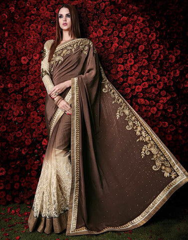Brown Color Chiffon Satin Saree