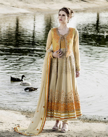 Beige Color Viscose Salwar Kameez
