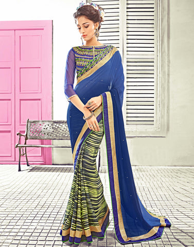 Navy Color Georgette Saree