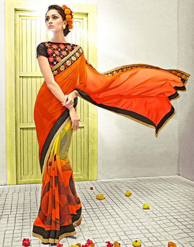 Orange Color Georgette Saree