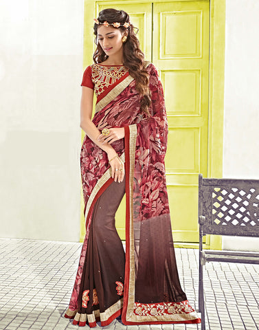 Brown Color Georgette Saree