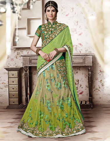 GREEN  Colour NET LEHENGA