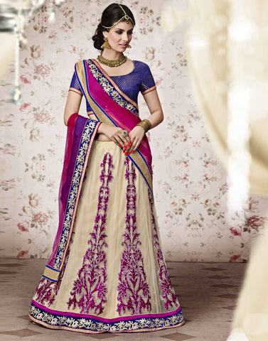 CREAM Colour NET LEHENGA