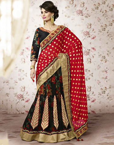 BLACK Colour NET LEHENGA