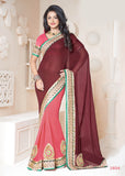 Brown Color Georgette Chiffon Party Wear Saree