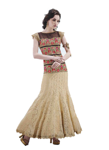 Cream Color Net JacquardGown